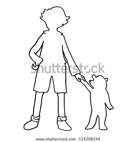 kid with small bear silhouettes