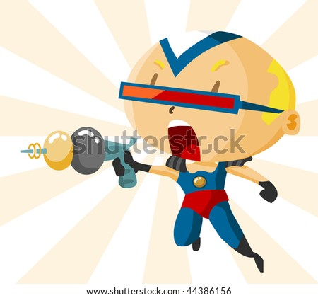 Kid with Superhero Custom. Detailed vector Illustration.