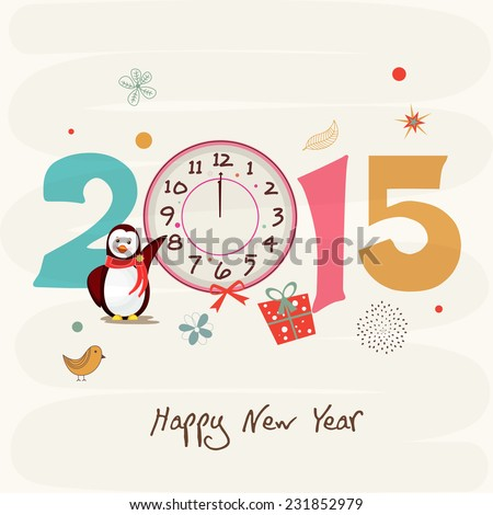 Kiddish greeting card decorated with penguin clock showing twelve o clock on abstract background for Happy New Year 2015 celebrations