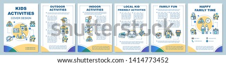 Kids activities brochure template layout. Flyer, booklet, leaflet print design with linear illustrations. Happy family time. Vector page layouts for magazines, annual reports, advertising posters