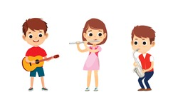 Kids activity. Children playing  on musical instruments. Girl is playing flute.