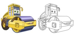 Kids activity coloring book page. Asphalt paver. Road roller machine. Colorless and color samples. Coloring clipart design in cartoon style. Vector illustration.