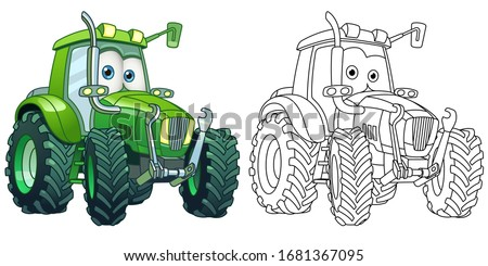 Kids activity coloring book page. Tractor. Agricultural transport. Colorless and color samples. Coloring clipart design in cartoon style. Vector illustration.