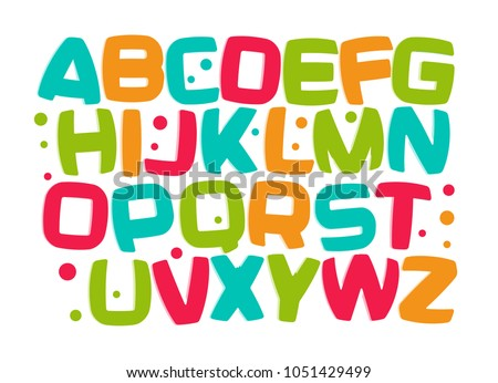 Kids alphabet, colorful cartoon font, kid letters set, play room funny design element, kids zone vector illustration.