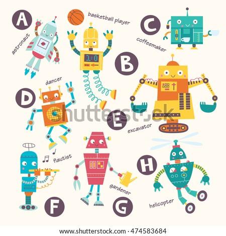 kids alphabet vector robots in