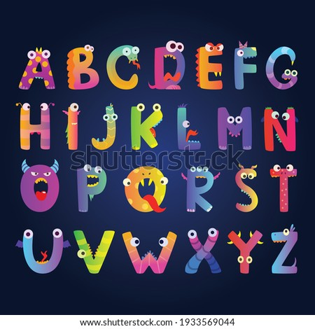 kids alphabet with funny monster letters cute characters alphabet character monster funny cartoon letter abc illustration