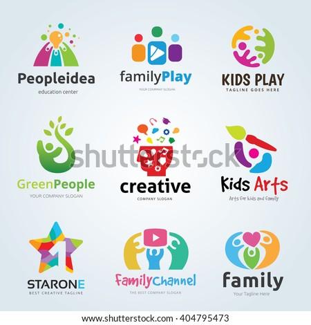 Kids and Family logo set