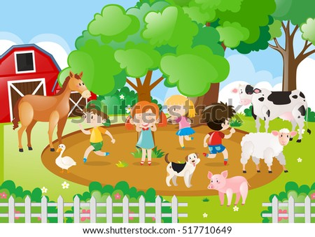 kids and farm animals in the