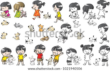 kids and pets set vector