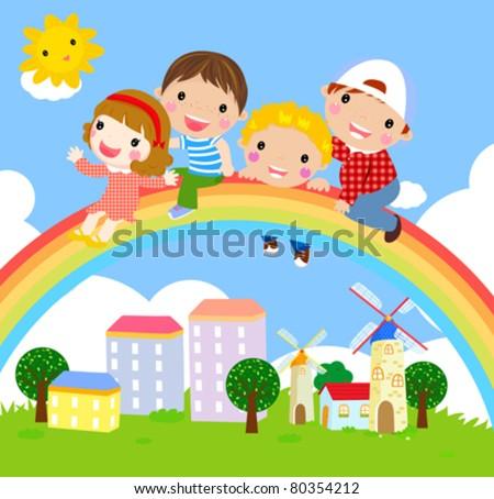 kids and rainbow-vector