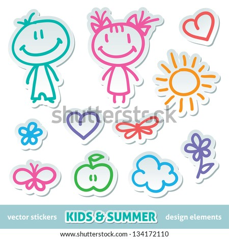 kids and summer symbols, vector hand drawn stickers