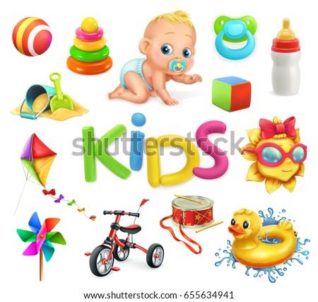 Kids and toys. Children playground, 3d vector icons set.