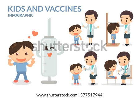 Kids and Vaccines. Vaccination. Flat design. Vector.