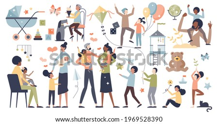 Kids and young child playing with parents collection, tiny person set concept. Elements with happy and joyful childhood moments vector illustration. Father and mother together with teen son or daughter Сток-фото ©