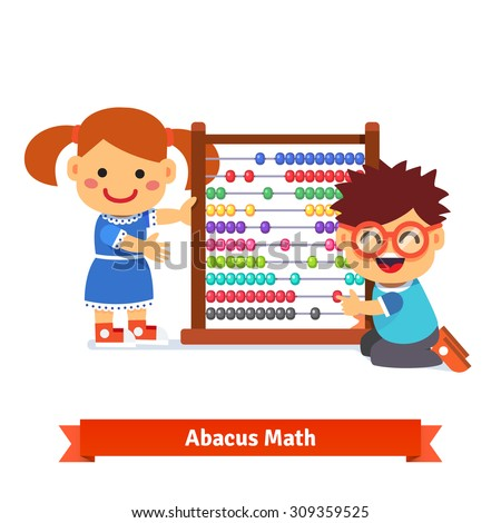 Kids are learning math with big kindergarten wooden colorful abacus. Flat style cartoon vector illustration isolated on white background.