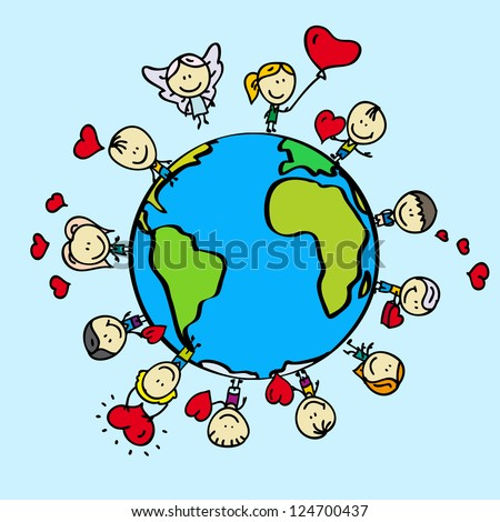 Kids around the world with love valentine hearts