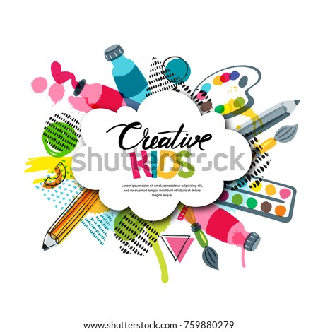 Kids art craft, education, creativity class concept. Vector banner, poster with white cloud shape paper background, hand drawn letters, pencil, brush, watercolor paints. Doodle illustration. Сток-фото ©