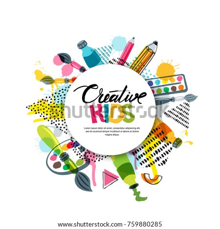 Kids art craft, education, creativity class concept. Vector banner, poster with white paper background, hand drawn letters, pencil, brush, paints and watercolor splash. Doodle illustration. Сток-фото ©
