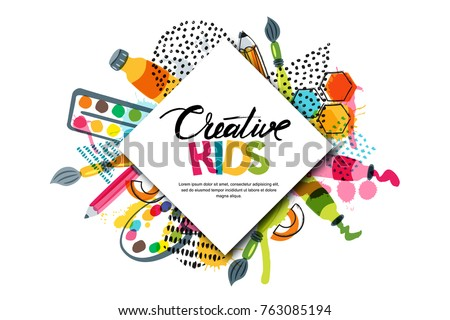 Kids art craft, education, creativity class concept. Vector horizontal banner or poster with white square paper background, hand drawn letters, pencil, brush, watercolor paints. Doodle illustration. Сток-фото ©