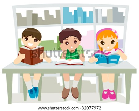 Kids at the Library - Vector