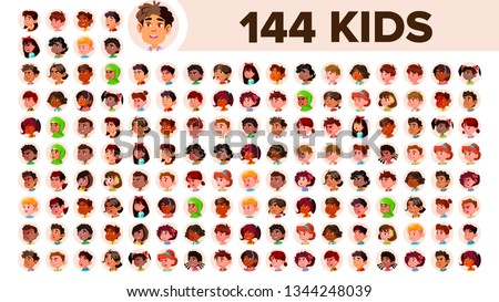 Kids Avatar Set Vector. Multi Racial. Face Emotions. Multinational User People Portrait. Male, Female. Ethnic. Icon. Asian, African, European, Arab. Flat Illustration