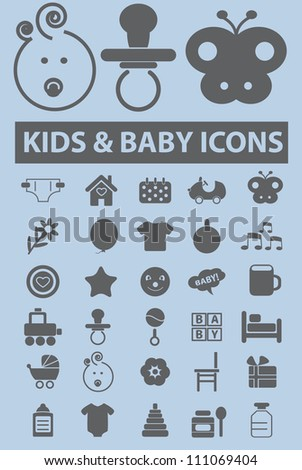 kids & baby icons set, vector
