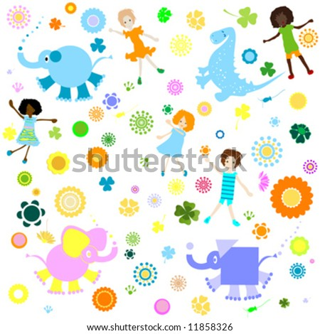 Background pattern with children and colorful flowers stock vector