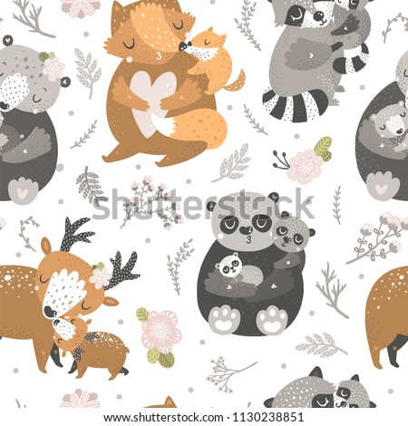 Kids background with cute forest animals. Fox, panda, deer, bear and raccoon. Mother and baby
