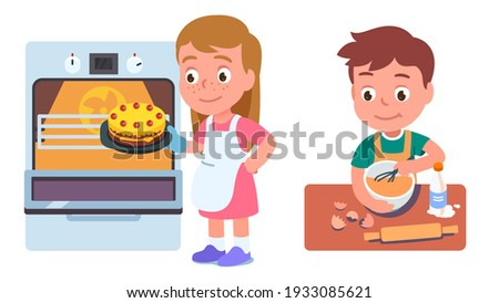 Kids bakers cooking cake or pie in kitchen. Boy kid standing and whisking dough at table, girl putting pie into oven. Children baking pastry at home. Household culinary. Flat vector illustration