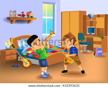 kids bedroom with two boys