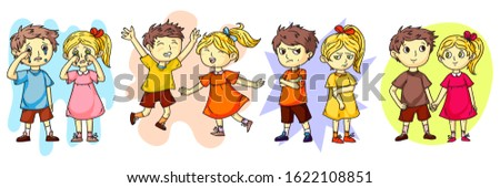 Kids behavior and emotions scene cartoon flat set. Happy and friendly smiling, crying, angry and sad children. Girl and boy offended by each other, holding hands. Best friends. Vector illustration