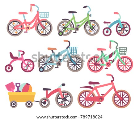 Kids bicycles vector set. Childrens bikes collection. Illustration of tricycle and kids bike