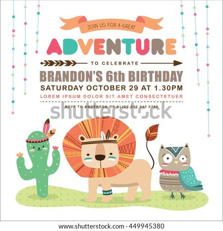 Vector kids birthday invite download free vector art stock kids birthday invitation card with cute cartoon animal stopboris Choice Image