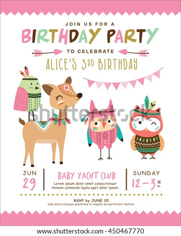 Kids birthday invitation card with cute cartoon animal
