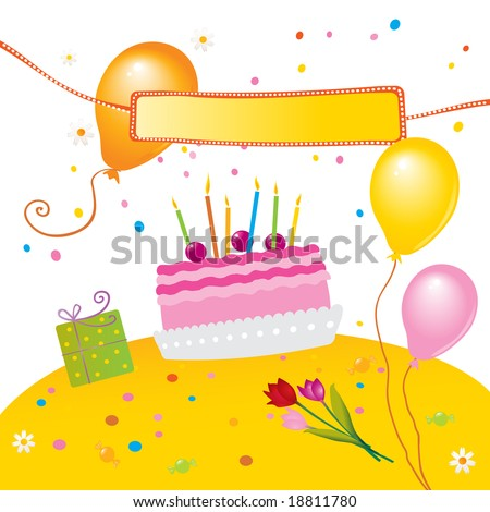 "stock vector : kids birthday party cake, balloons and banner for ""happy"