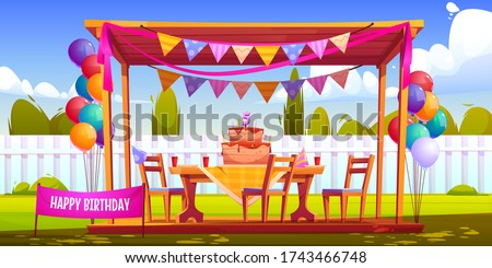 Kids birthday party decoration on backyard, festive cake with five years old candle, hats, balloons bunches and garlands at summer wooden house on green lawn front of fence Cartoon vector illustration