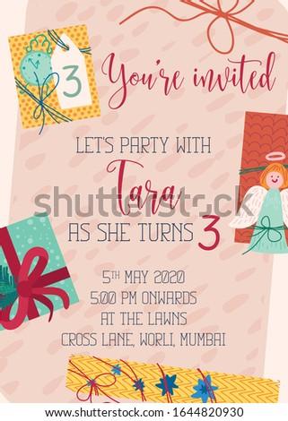 Kids birthday party invitation card, children's theme birthday invites, kids party invite, fun invite, party invitations, 1st birthday invite, birthday invites, invitation cards, party invite