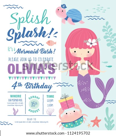 stock-vector-kids-birthday-party-invitation-card-with-cute-little-mermaid-and-marine-life