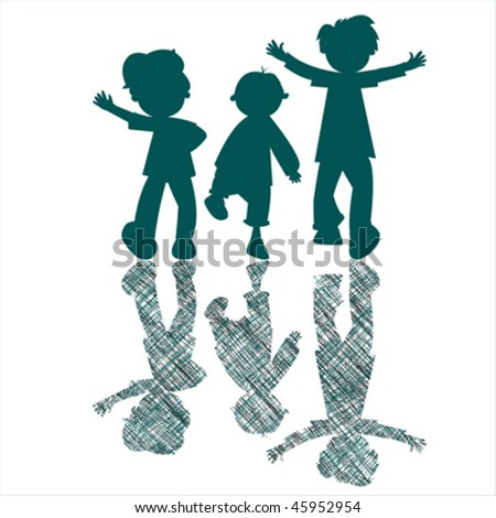 kids blue silhouettes with striped shadows, abstract art illustration; stripes texture behind