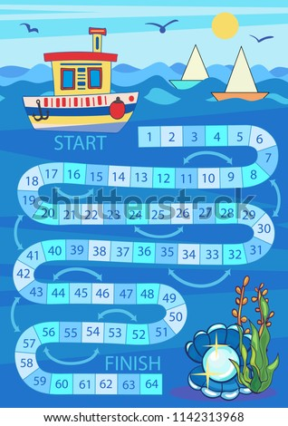 Kids board game. Road from a boat to a pearl shell. Worksheets for book. Children funny entertainment and amusement. Kid's art game and activities page. Wallpaper for print. Vector illustration. ストックフォト ©