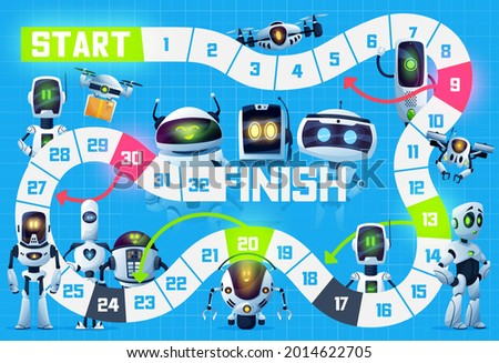 Kids board game with robots, androids and drones, vector tabletop puzzle background. Kids cartoon track and move boardgame for dice with android robots, chatbots and quadcopter drones