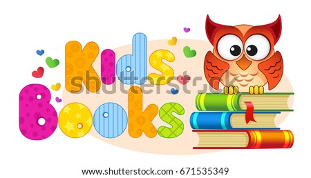 Kids books. Banner with owl on a pile of books