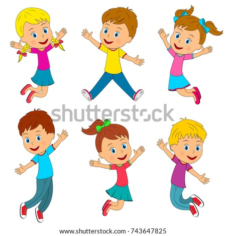 kids,boys and girls jumping and smiling with their hands up, illustration, vector