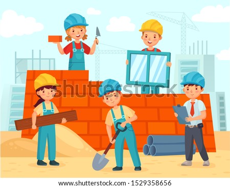 Kids build construction. Little workers in helmets build building from bricks, funny kids teamwork and kid engineer build house. Architecture construction teamwork children vector illustration