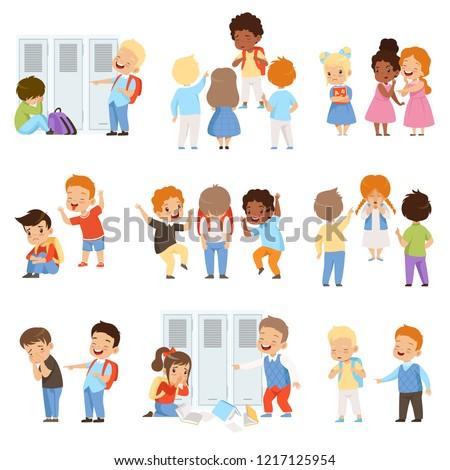Kids bullying the weaks set, bad behavior, conflict between children, mockery and bullying at school vector Illustration