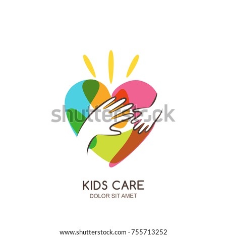 Kids care, family, charity vector logo emblem design template. Hand drawn multicolor heart with baby and adult hands silhouettes, isolated icon. Voluntary non profit organization, healthcare concept.