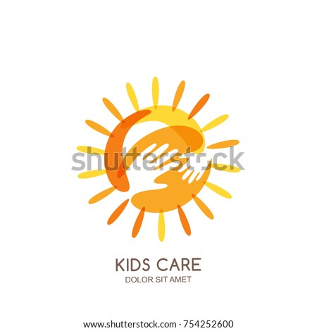 Kids care, family or charity vector logo emblem design template. Hand drawn sun with baby and adult hands silhouettes, isolated icon. Voluntary non profit organization or healthcare concept.