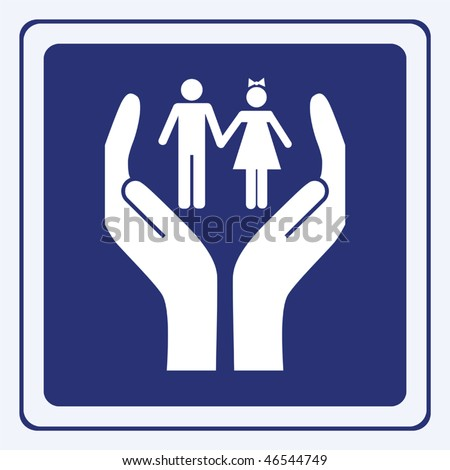 kids care sign vector