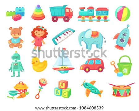 Kids cartoon toys. Baby doll, train on railway, ball, cars, boat, boys and girls fun plastic toy vector collection isolated on white