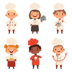 Kids characters prepare food. Character child chef profession, waiter and baker, confectioner illustration
